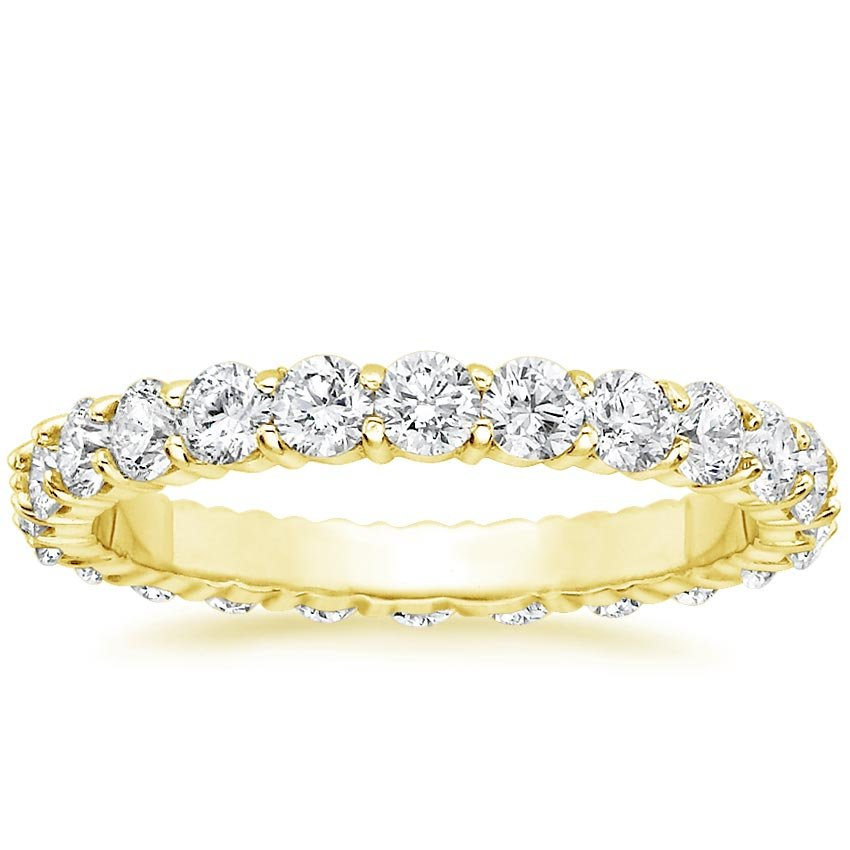 18K Yellow Gold Luxe Shared Prong Eternity Diamond Ring (1 1/2 ct. tw.), top view