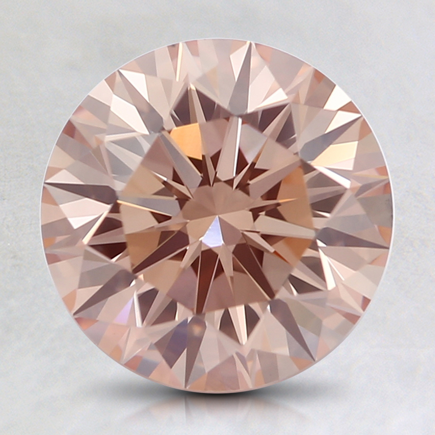 2.11 Ct. Fancy Orangy Pink Round Lab Created Diamond