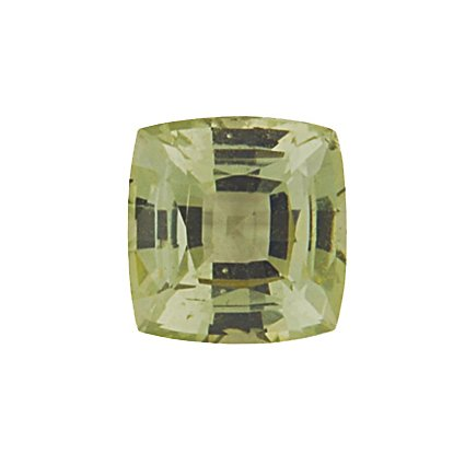 6mm Green Cushion Sapphire, top view