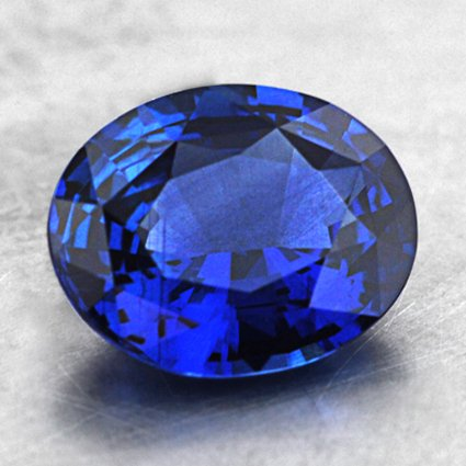7.5x6mm Blue Oval Sapphire, top view