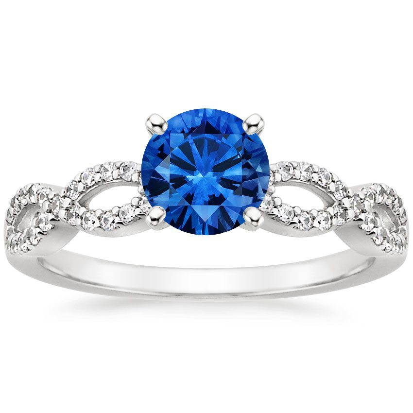 18K White Gold Sapphire Infinity Diamond Ring, top view
