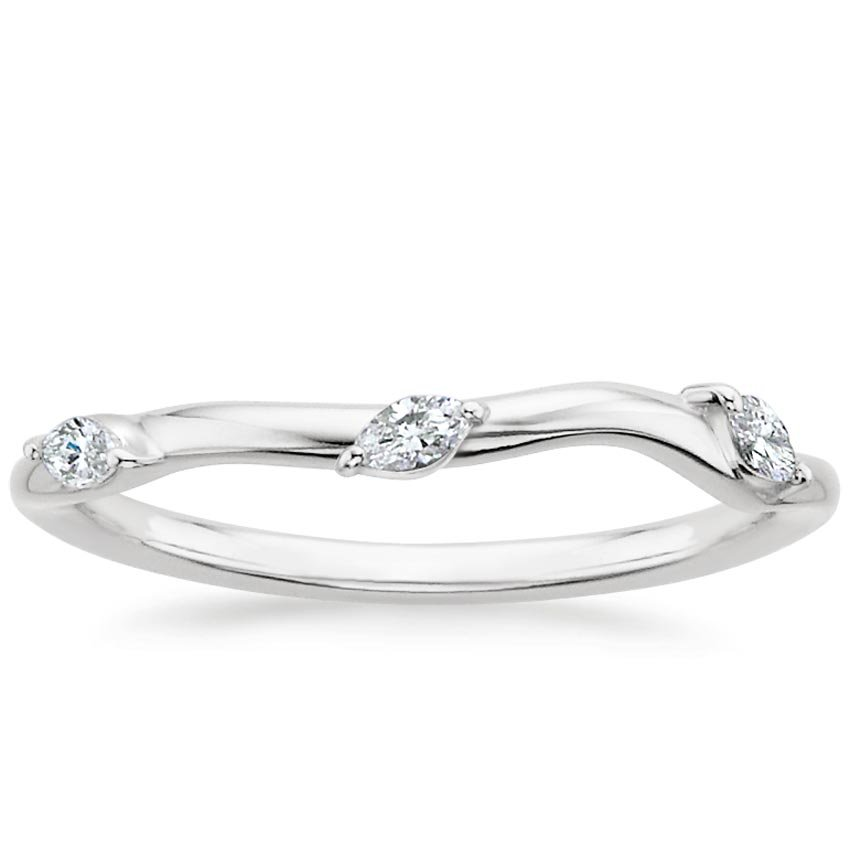 18K White Gold Willow Contoured Diamond Ring (1/10 ct. tw.), top view