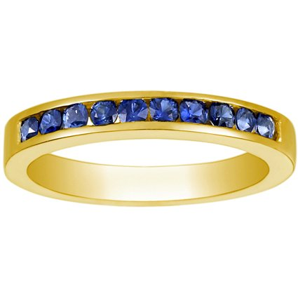 18K Yellow Gold Channel Set Round Sapphire Ring, top view