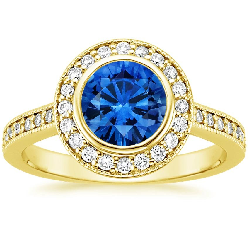 Sapphire Round Bezel Halo Diamond Ring with Side Stones in 18K Yellow Gold with 6.5mm Round Blue Sapphire
