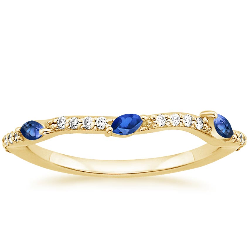 Yellow Gold Luxe Willow Contoured Ring with Sapphire and Diamond Accents (1/10 ct. tw.)