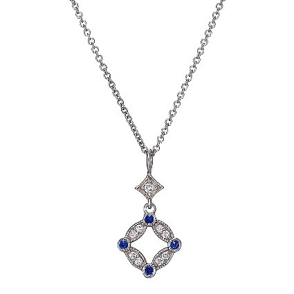 18K White Gold Tiara Diamond and Sapphire Pendant, top view