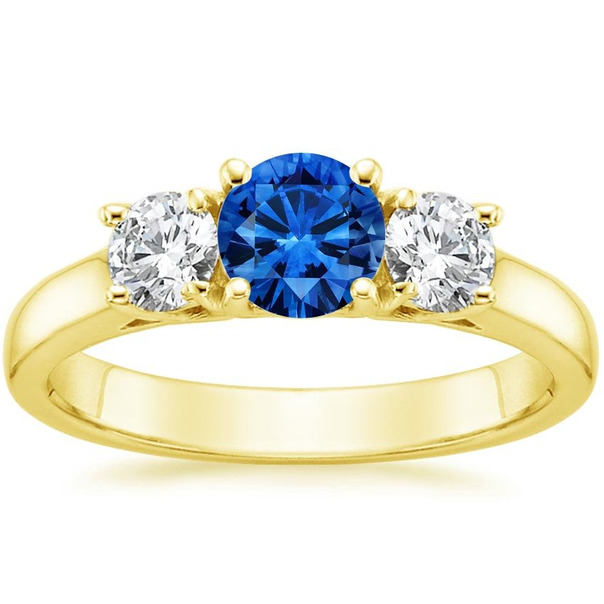 18K Yellow Gold Sapphire Three Stone Diamond Trellis Ring, top view