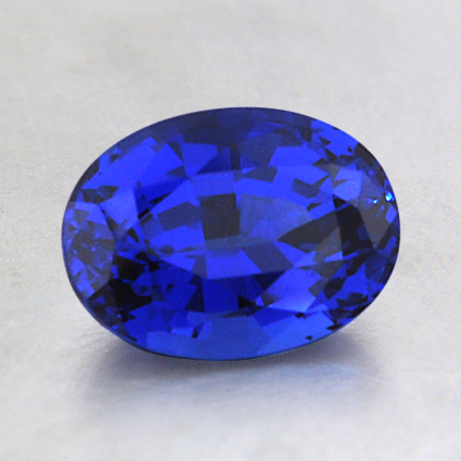 8x6mm Lab Created Blue Oval Sapphire, top view
