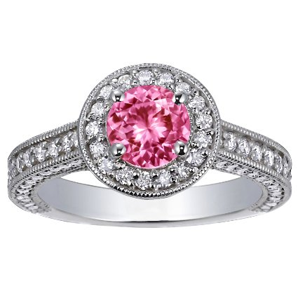 Sapphire Luxe Pavé Diamond Halo Ring in 18K White Gold with 6mm Round Pink Sapphire