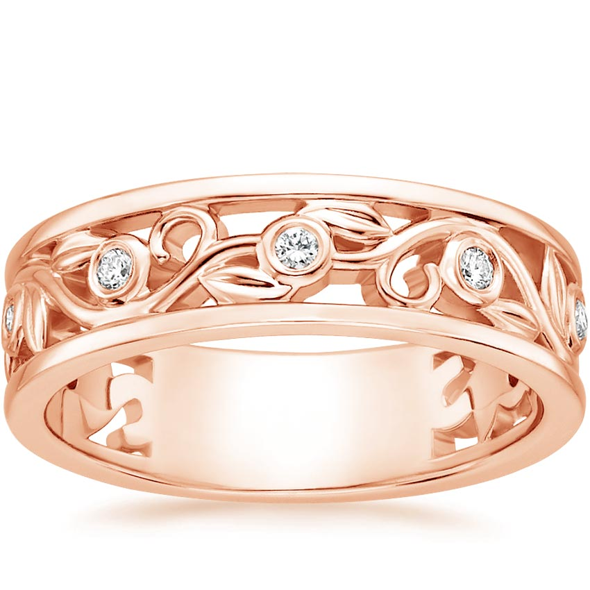 14K Rose Gold Leaves and Buds Diamond Ring, top view