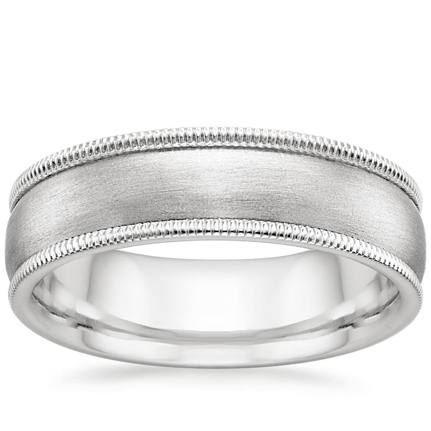 6mm Milgrain Matte Wedding Ring in 18K White Gold