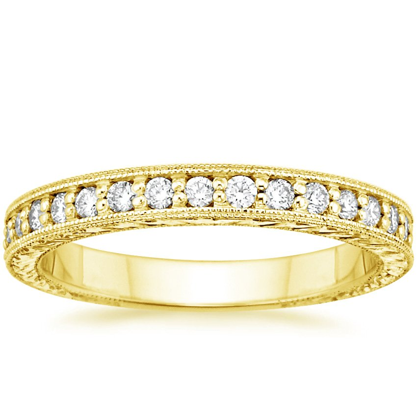 18K Yellow Gold Engraved Pavé Milgrain Diamond Ring (1/4 ct. tw.), top view