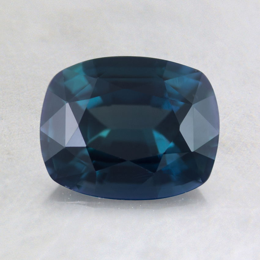 7x6mm Premium Teal Cushion Sapphire, top view