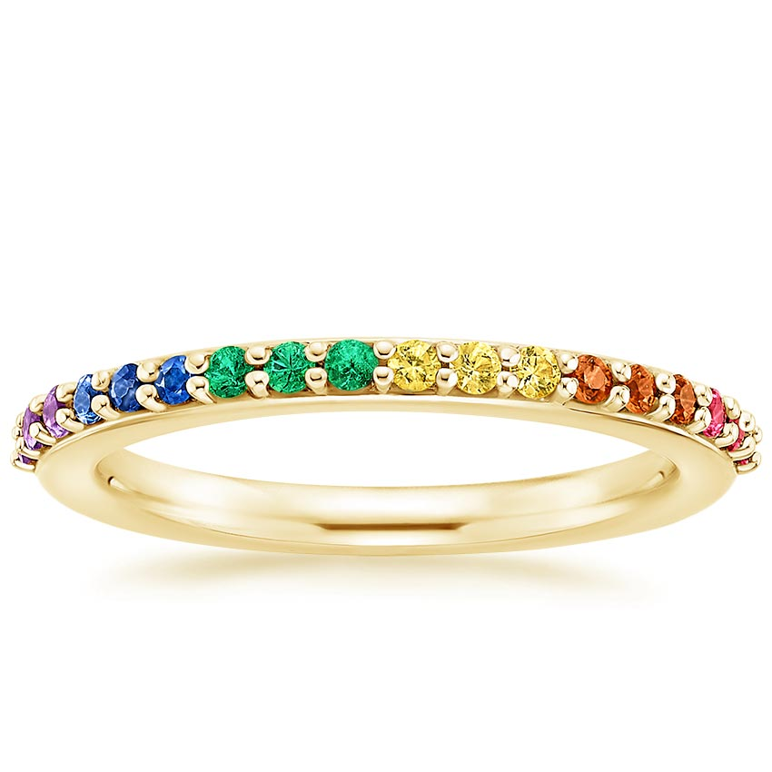 Yellow Gold Multi Colored Gem Wedding Ring