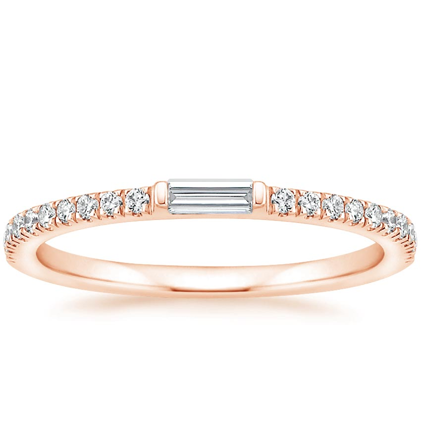 Rose Gold Accented Baguette Diamond Ring