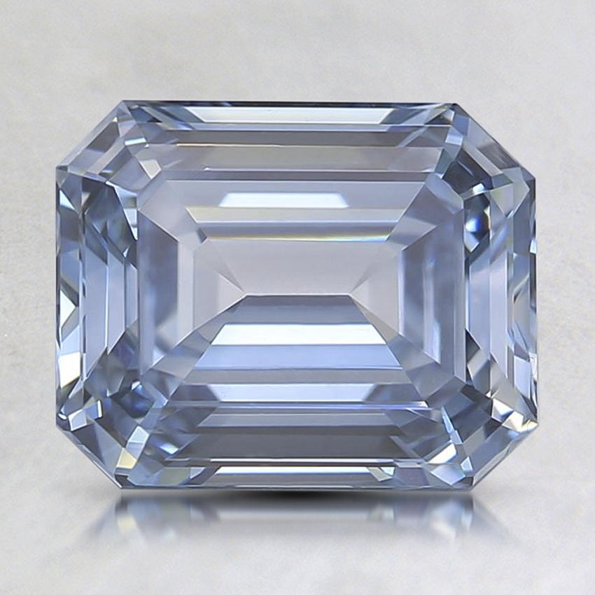 2.11 Ct. Lab Created Fancy Intense Blue Emerald Cut Diamond, top view