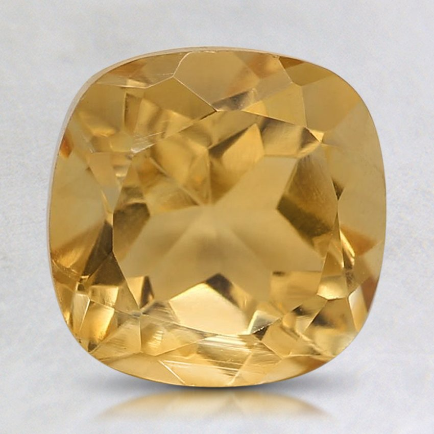 8mm Yellow Cushion Citrine, top view