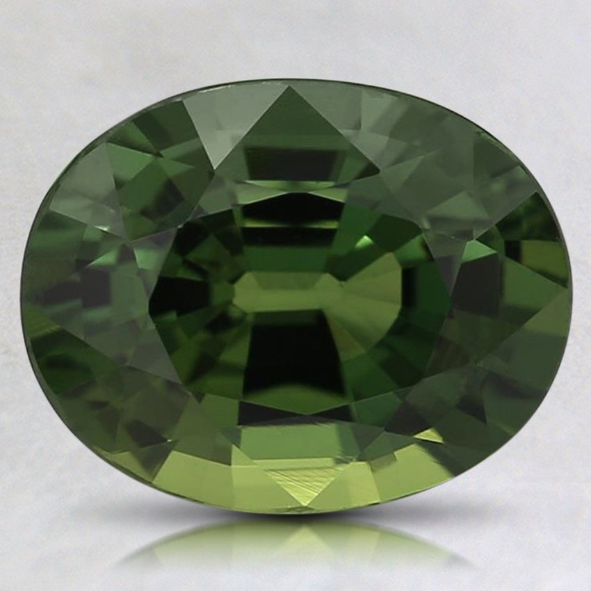 9.5X7.5mm Green Oval Sapphire, top view