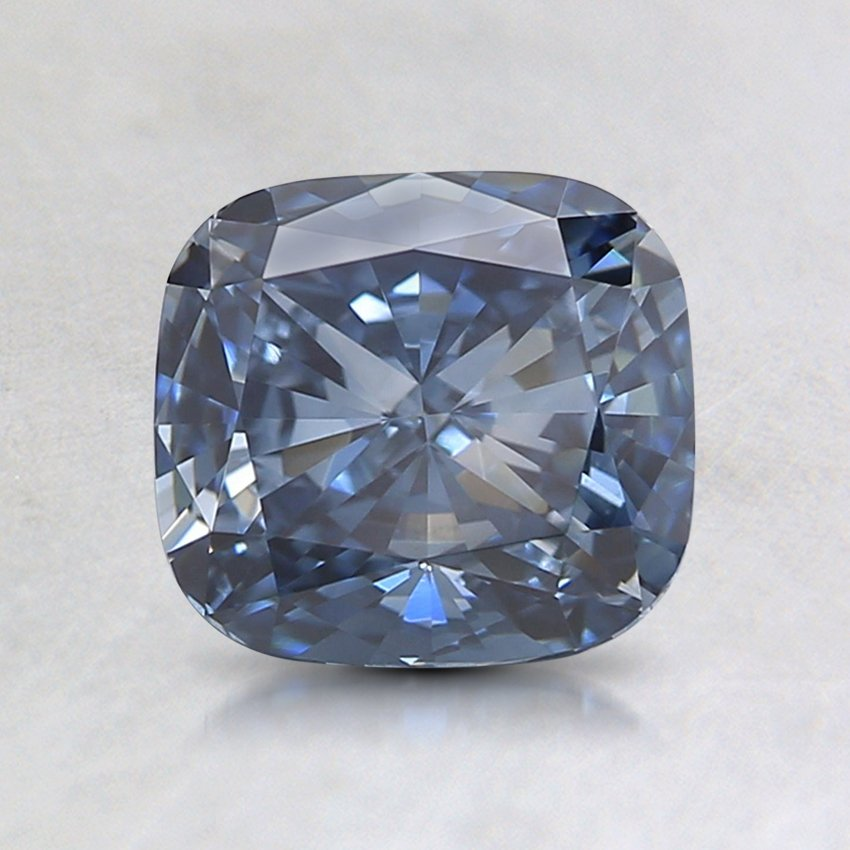 1.27 Ct. Lab Created Fancy Intense Blue Cushion Diamond, top view