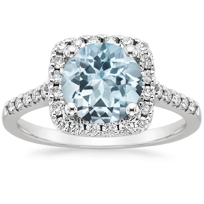 Aquamarine Odessa Diamond Ring (1/5 ct. tw.) in 18K White Gold