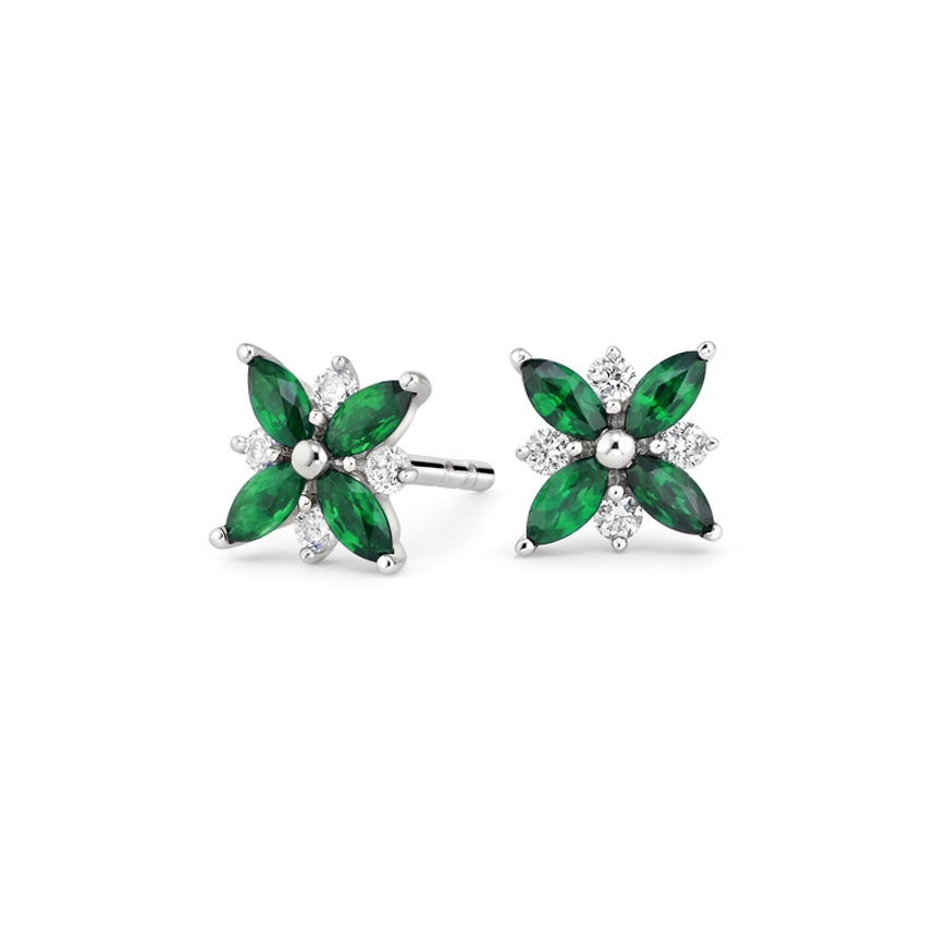 Emerald and Diamond Petal Earrings
