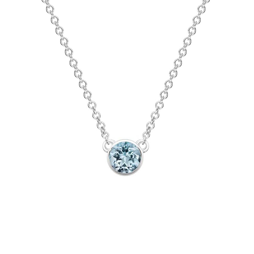 Silver Aquamarine Bezel Necklace
