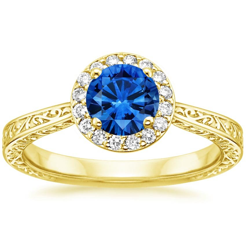 18K Yellow Gold Sapphire Contessa Diamond Ring, top view