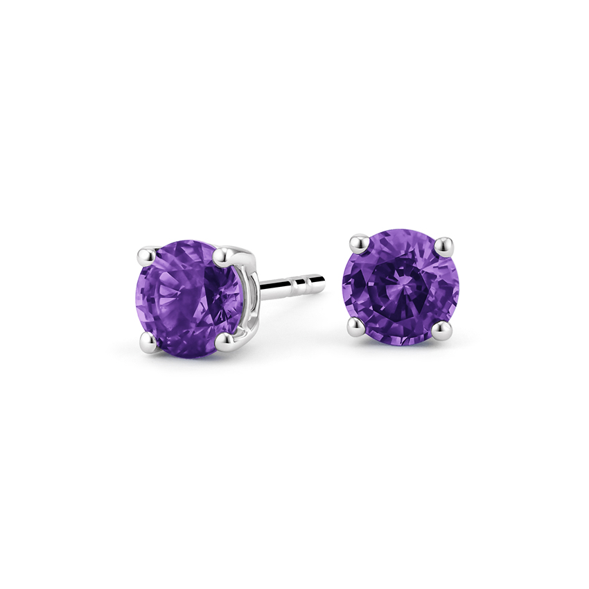 Amethyst Stud Earrings in Silver