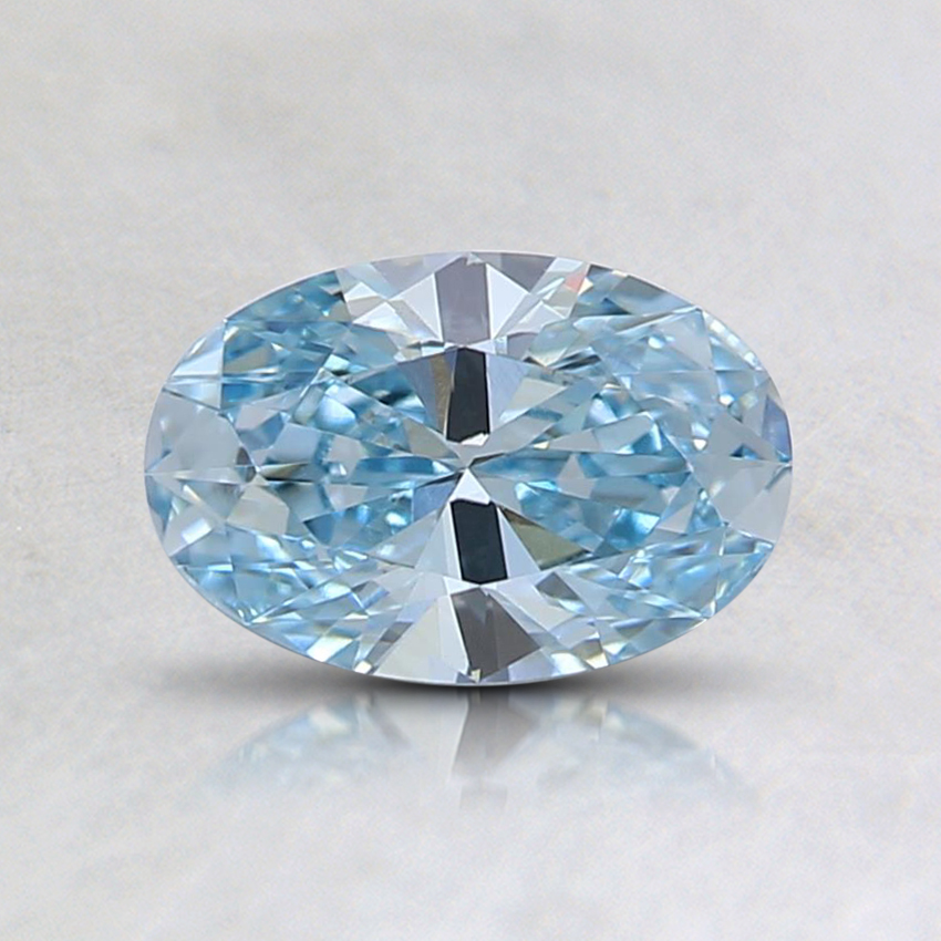 0.58 Ct. Fancy Intense Greenish Blue Oval Lab Created Diamond