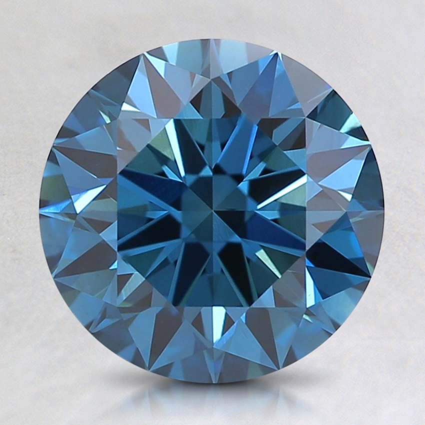 2.20 Ct. Fancy Dark Greenish Blue Round Lab Created Diamond