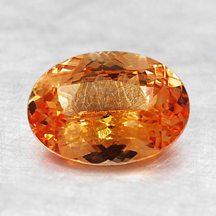 8X6mm Premium Orange Oval Sapphire, top view