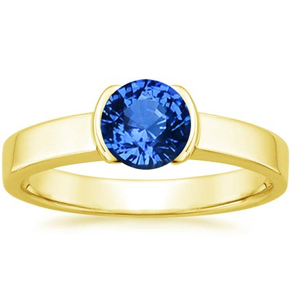 Sapphire Semi-Bezel Ring in 18K Yellow Gold with 6mm Round Blue Sapphire