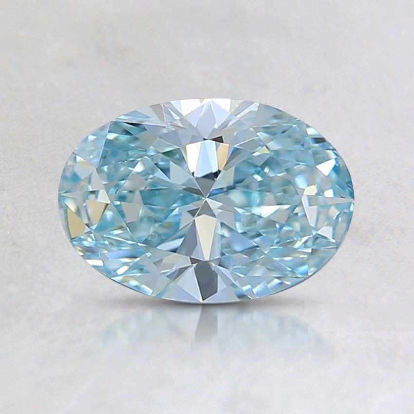 0.73 Ct. Fancy Greenish Blue Oval Lab Created Diamond