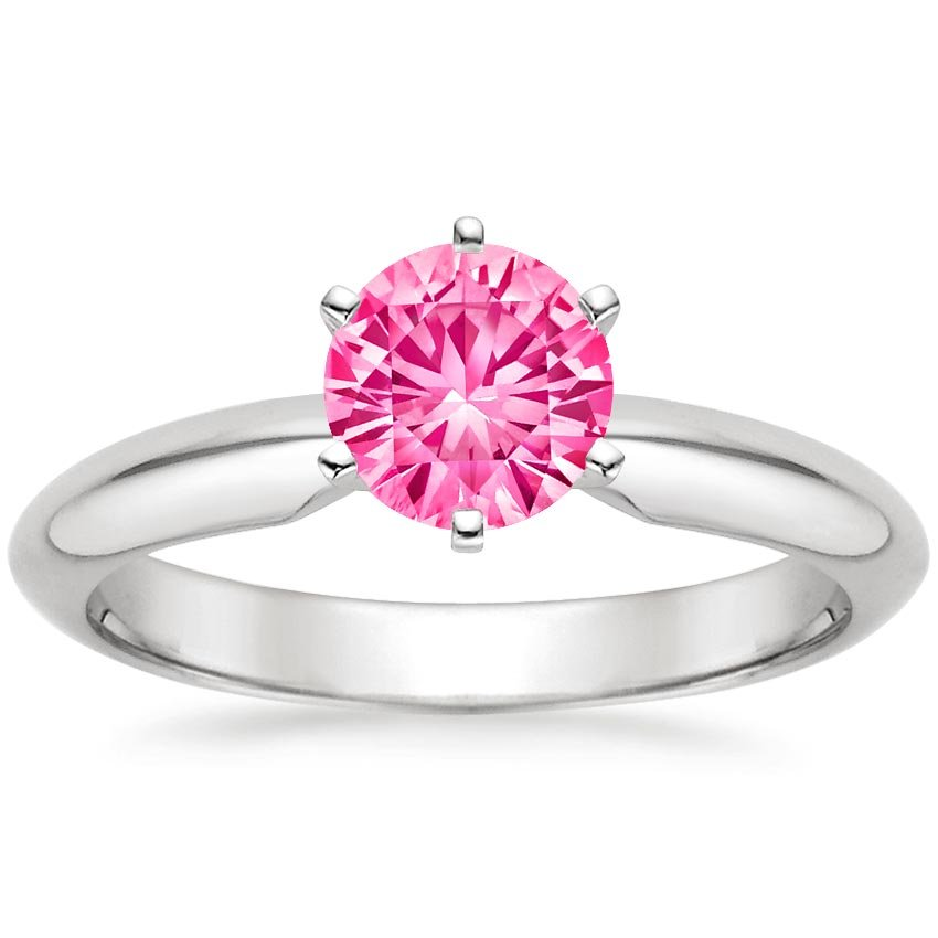 Sapphire Six-Prong Classic Ring in 18K White Gold with 6mm Round Pink Sapphire