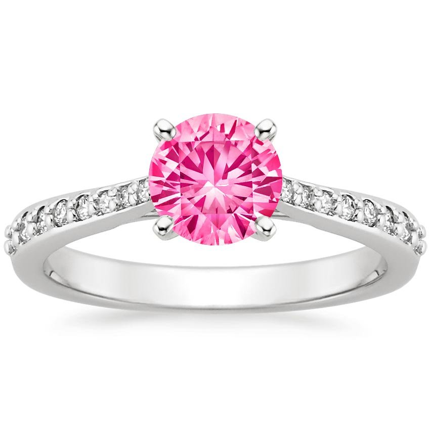 Sapphire Geneva Ring in 18K White Gold with 6mm Round Pink Sapphire