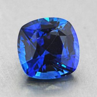 6mm Premium Cushion Blue Sapphire, top view