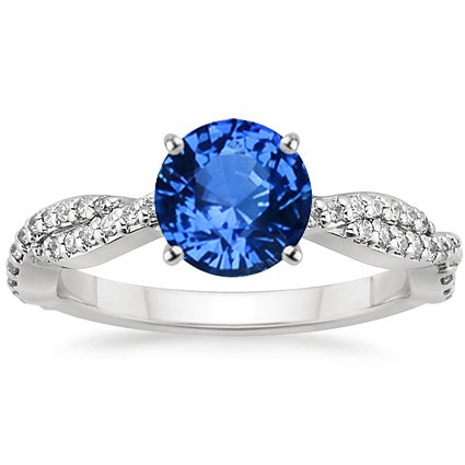 18K White Gold Sapphire Twisted Vine Diamond Ring, top view