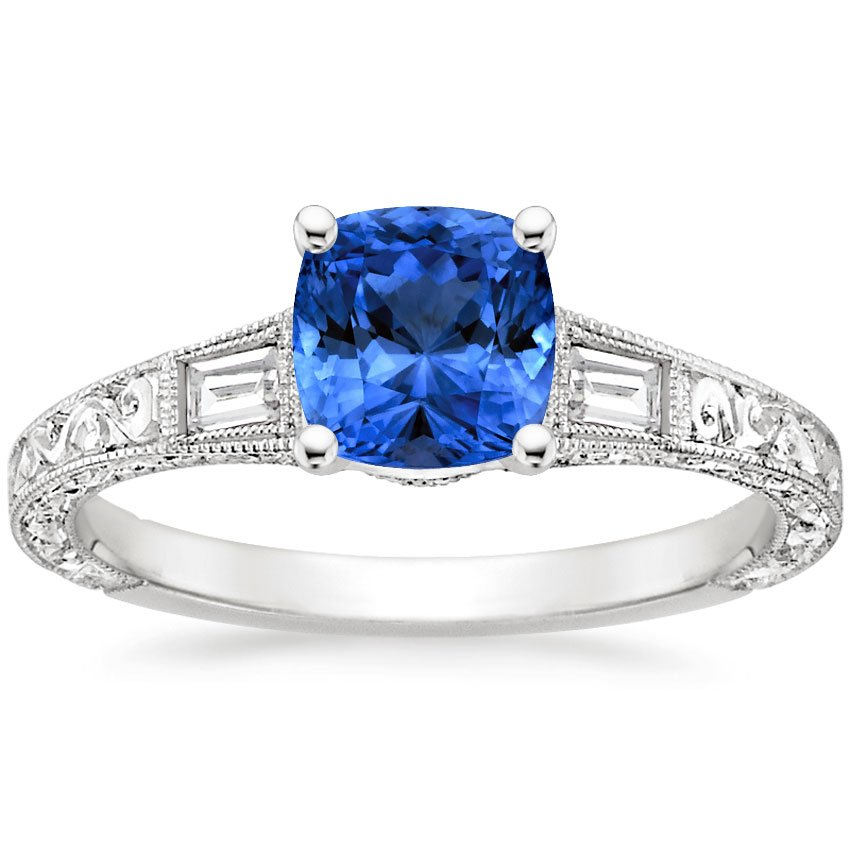 Platinum Sapphire Regalia Diamond Ring, top view