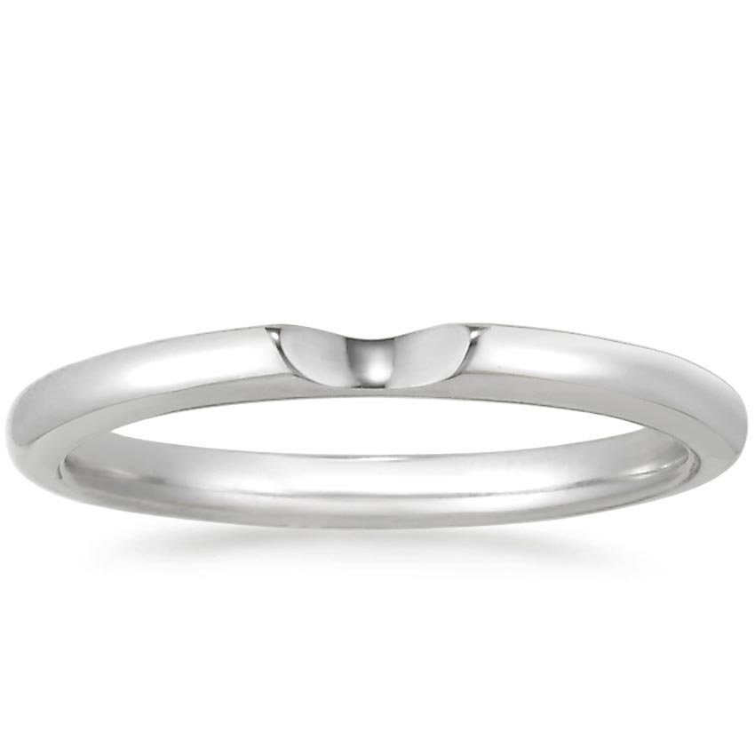 18K White Gold Sierra Contoured Ring, top view