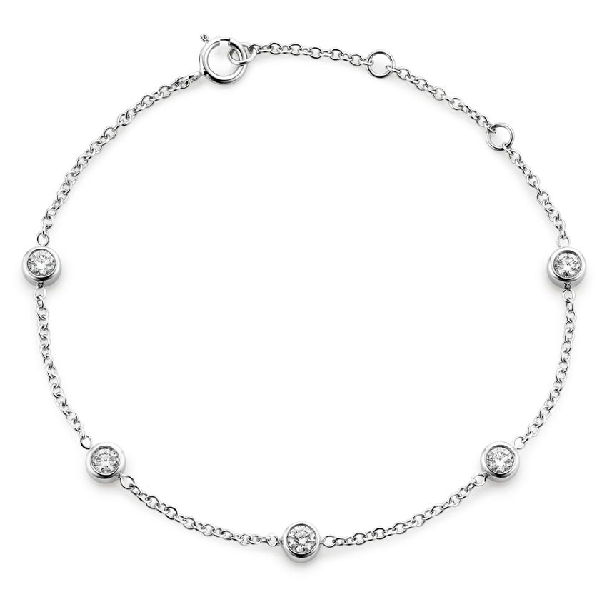 18K White Gold Five Diamond Bezel Bracelet (1/2 ct. tw.)
