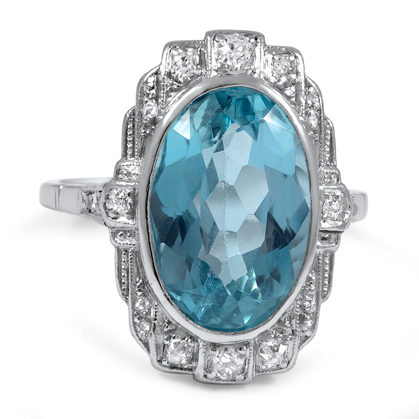 Art Deco Aquamarine Vintage Ring Savanna Brilliant Earth