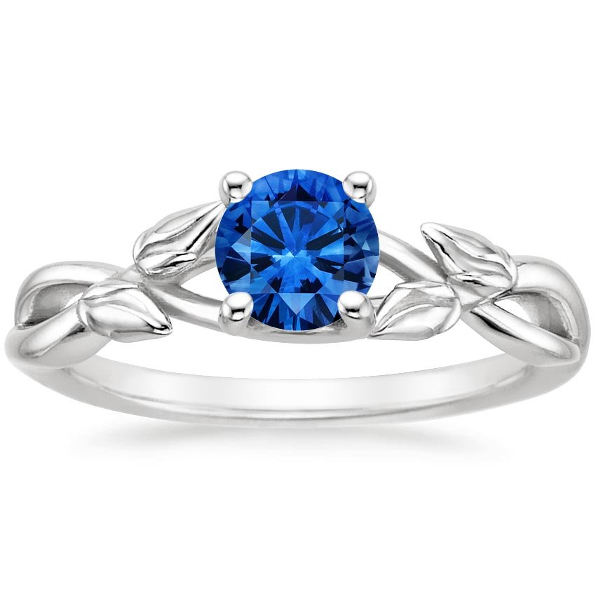 Platinum Sapphire Budding Willow Ring, top view