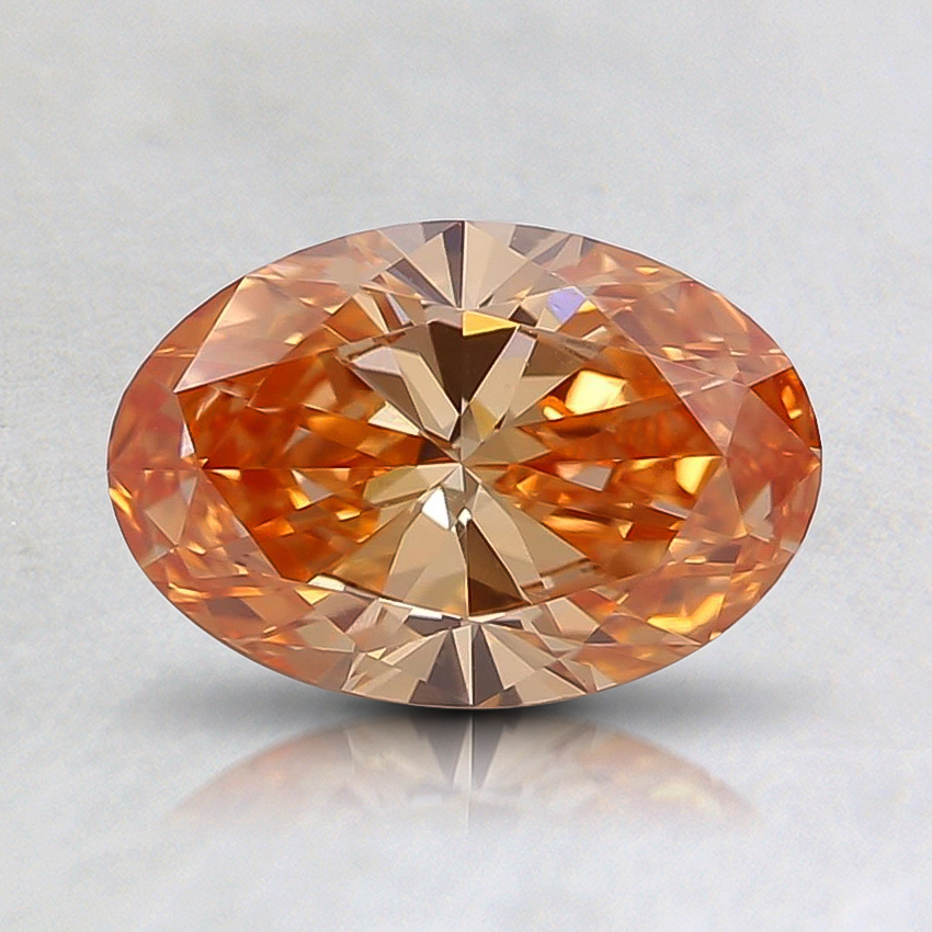 0.82 Ct. Fancy Intense Pinkish Orange Oval Lab Created Diamond
