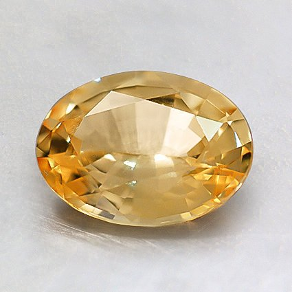 8x6mm Unheated Yellow Oval Sapphire, top view