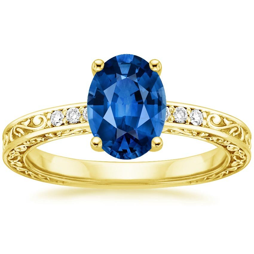 18K Yellow Gold Sapphire Delicate Antique Scroll Diamond Ring, top view