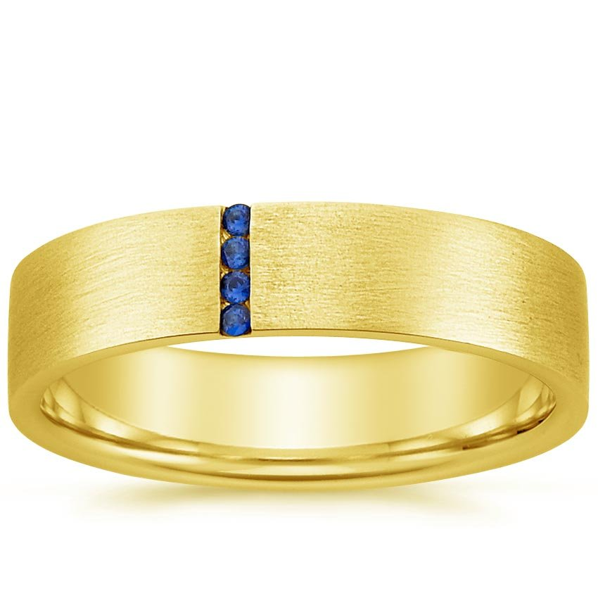 18K Yellow Gold Horizon Sapphire Ring, top view