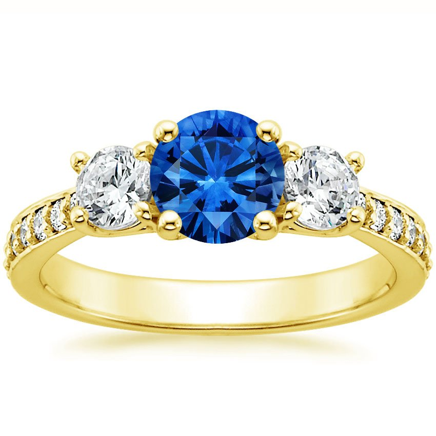 Sapphire Three Stone Round Diamond Pavé Trellis Ring in 18K Yellow Gold with 6mm Round Blue Sapphire