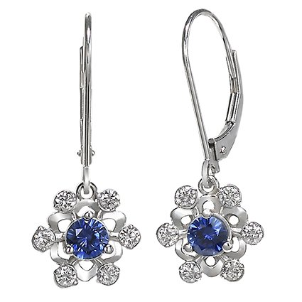 18K White Gold Sapphire Snowflake Earrings, top view