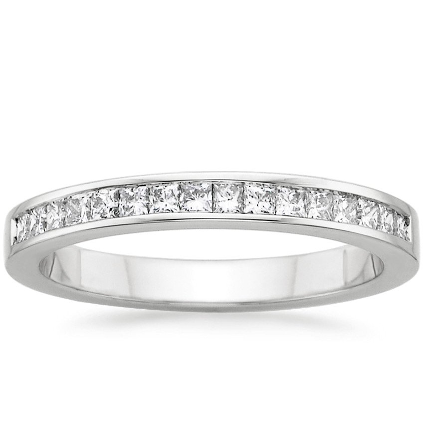 18K White Gold Petite Channel Set Princess Diamond Ring, top view