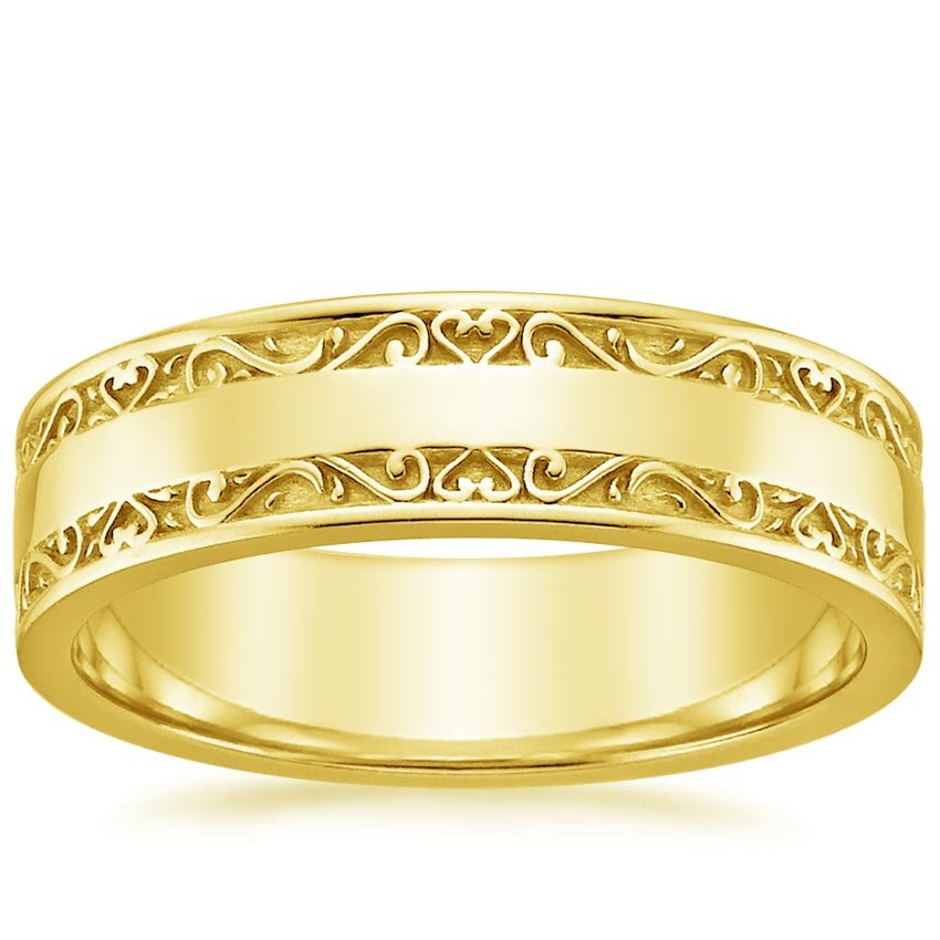 Yellow Gold Wide Antique Scroll Wedding Ring